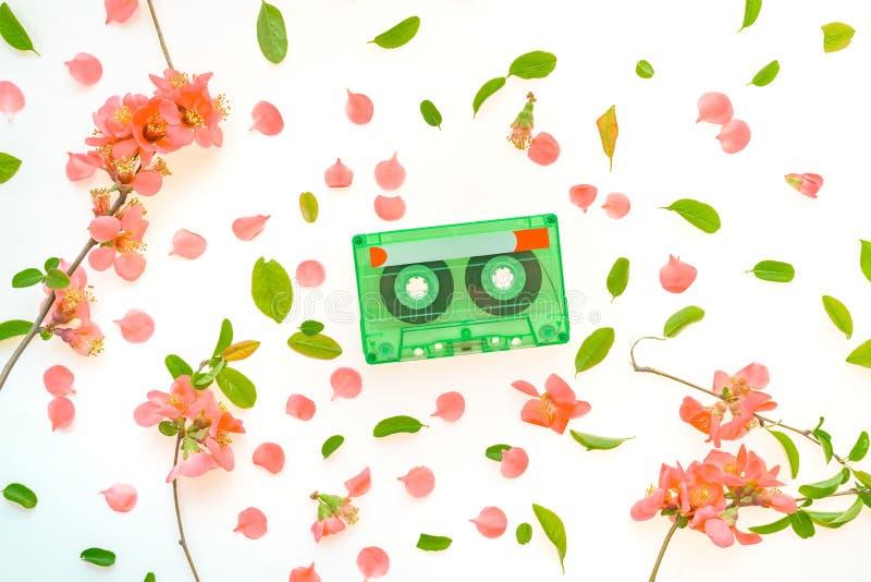Audio kasety odg?rnego widoku mieszkania nieatutowej wiosny kwiecista dekoracja obraz stock
