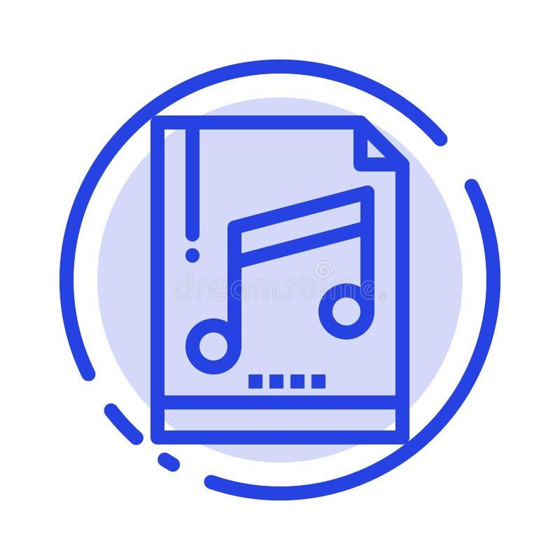 Audio, komputer, kartoteka, Mp3, Pobiera próbki błękit Kropkującą linii linii ikonę ilustracji