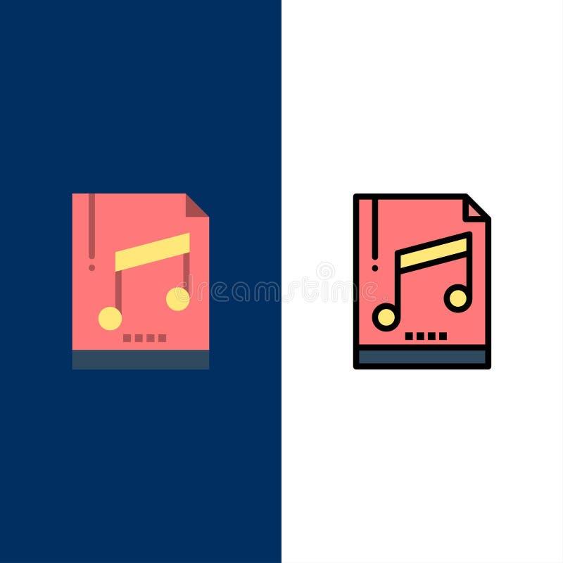 Audio, komputer, kartoteka, Mp3, próbek ikony Mieszkanie i linia Wypełniający ikony Ustalony Wektorowy Błękitny tło ilustracja wektor