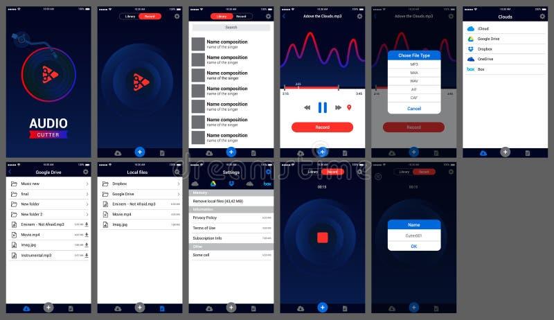 Audio krajacza app ui projekta ios ilustracji