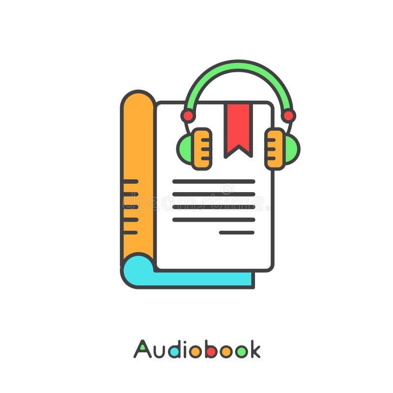 Audio Książkowy i Elektroniczny czytelnik z hełmofon Wektorową Prostą ikoną ilustracja wektor
