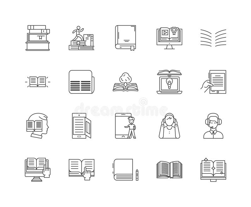 Audio ksi??ek kreskowe ikony, znaki, wektoru set, kontur ilustracji poj?cie ilustracji