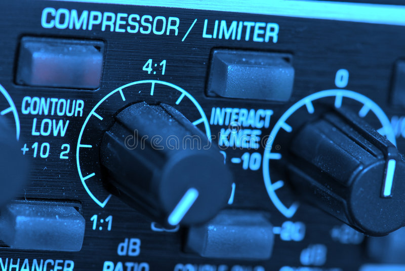 Audio limiter compressor. A audio limiter at a tv-studio stock photo