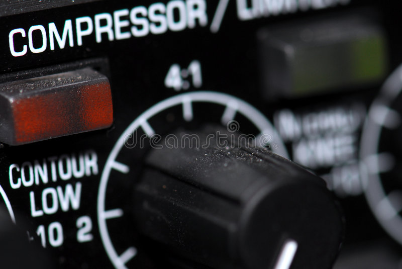 Audio limiter compressor. A audio limiter and compressor in a tv-studio stock photos