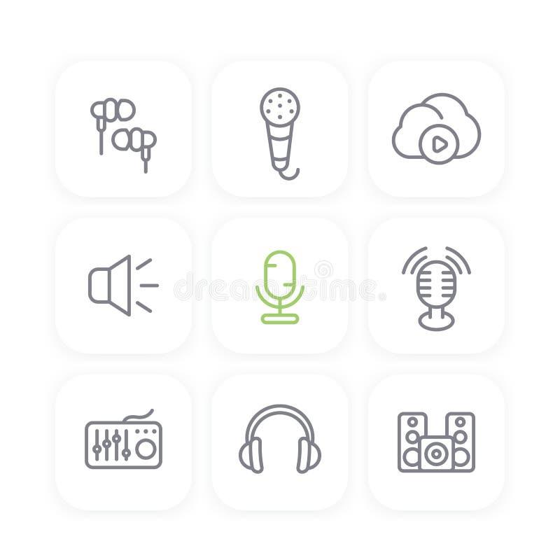 Audio linii ikony ustawiają, rozsądny melanżer, earbuds royalty ilustracja