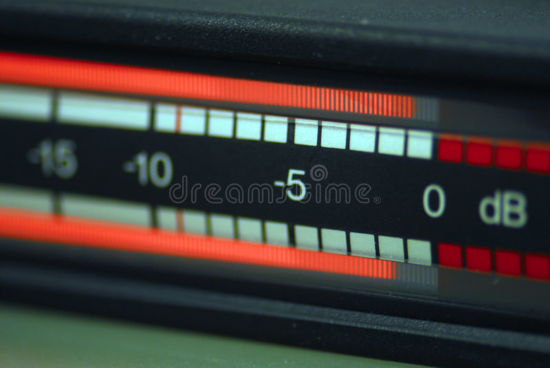 Audio meter RTW. A audio meter for broadcast, blur at numbers, sharp near highest meter point royalty free stock photos