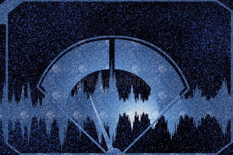 Audio metro del VU Amplificatore audio d'annata Calibro di decibel Sintonizzatore radiofonico analogico Audio segnali sani delle  royalty illustrazione gratis