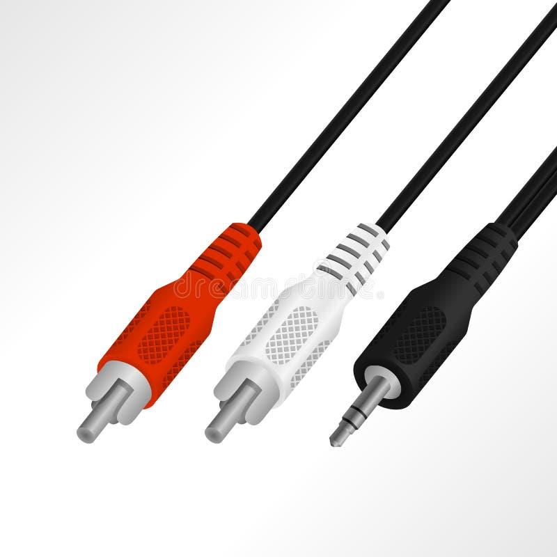 Audio mini 3 realistici 5 millimetri all'illustrazione di vettore del cavo di RCA illustrazione di stock