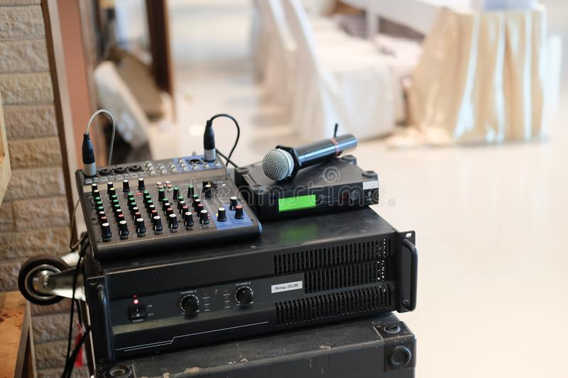 Audio mixe. In a meeting room stock photo