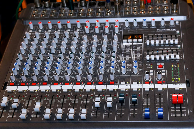 Audio mixer. Acoustic adjustment button console royalty free stock photos