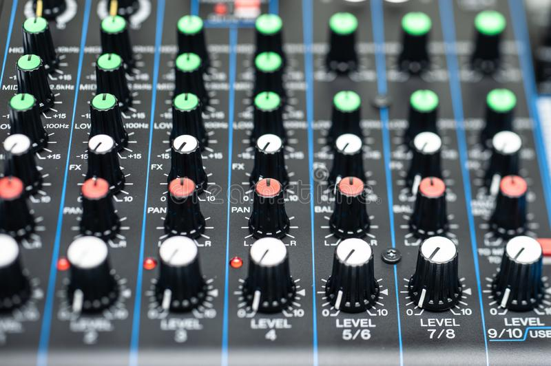 Audio Mixer console. Mixer,Control of high-quality audio and equalizer volume on the mixer stock images