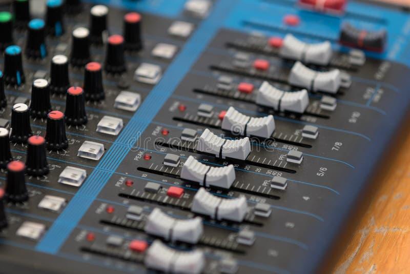 Audio Mixer. Details of a audio mixer stock photo