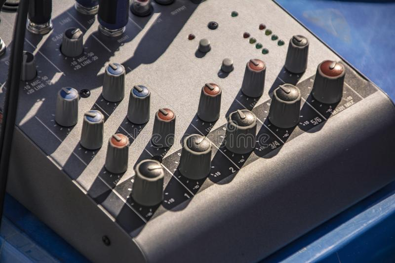 Audio Mixer equipment  2. Two-channel audio mixer used in music production royalty free stock photo