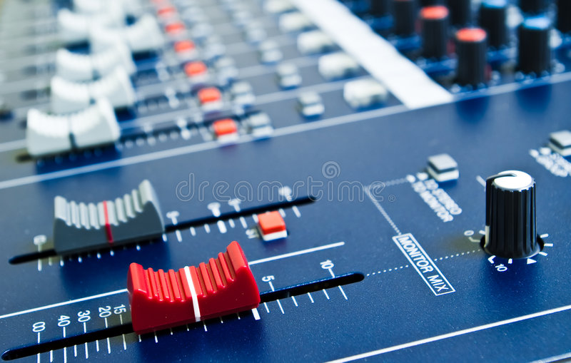 Audio mixer faders royalty free stock image