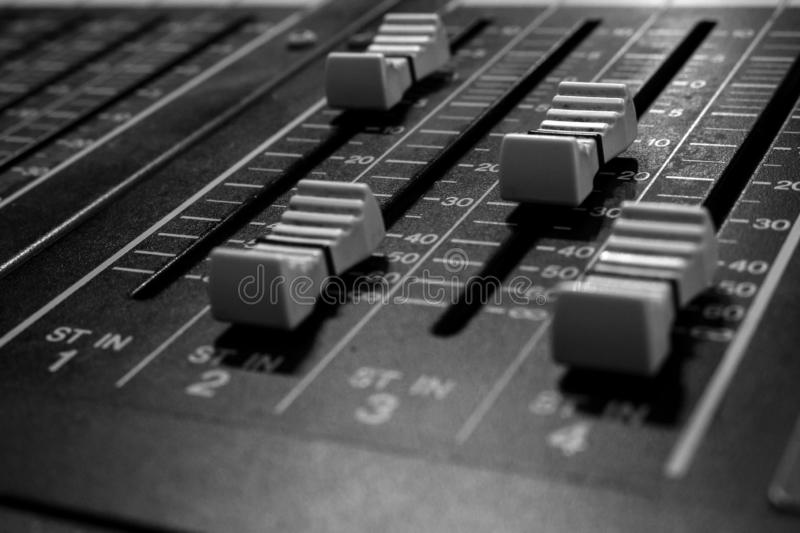 Stereo Professional Audio Mixing Console Faders stock image