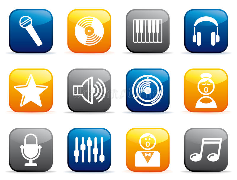 Download Audio And Music Icons On Buttons Royalty Free Stock Image - Image: 24175906