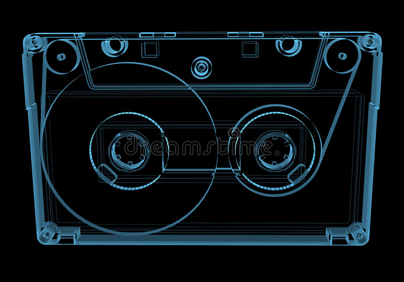 Audio nastro a cassetta (trasparenti blu dei raggi x 3D) illustrazione di stock