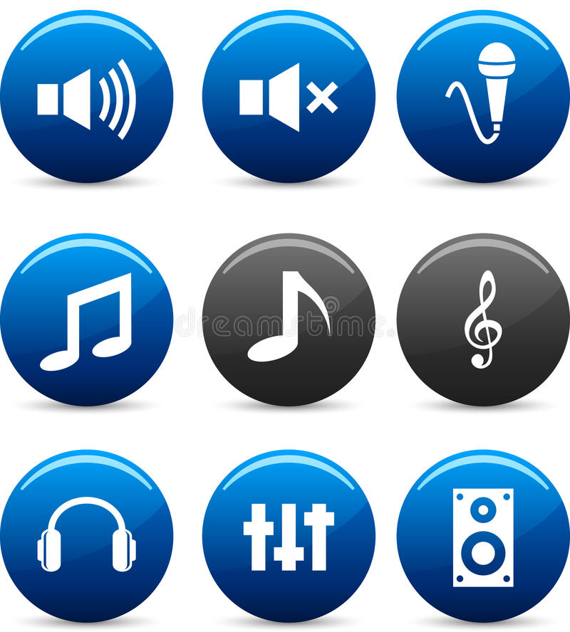 Audio pictogrammen. royalty-vrije illustratie