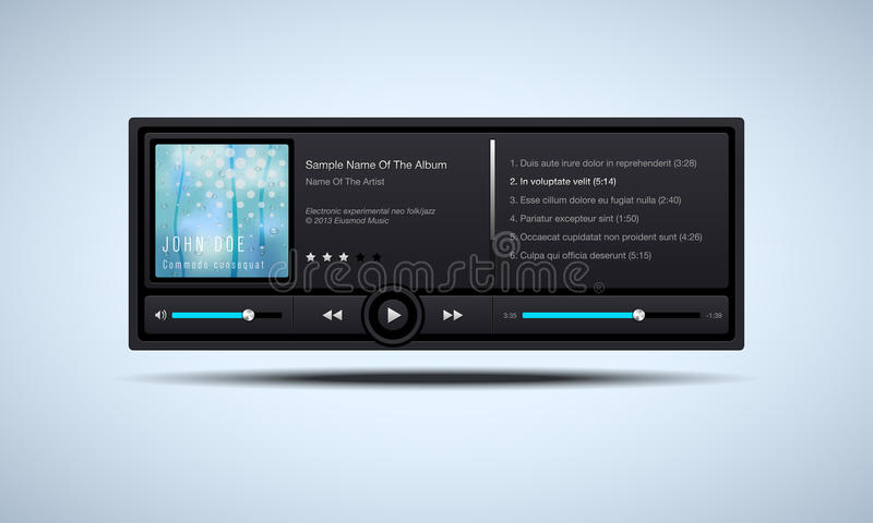Audio player interface. Vector illustration royalty free illustration