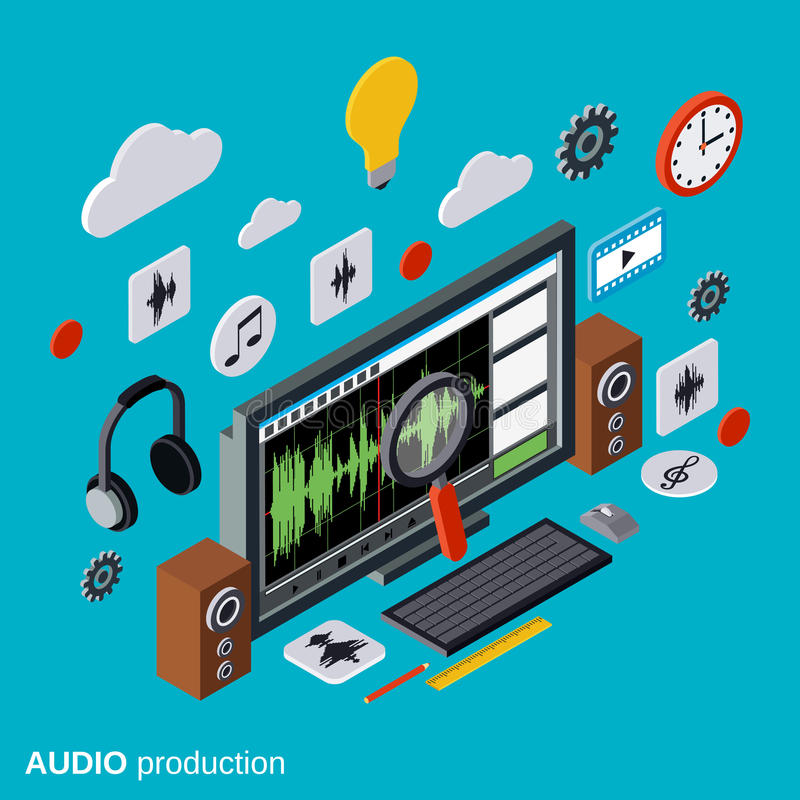 Audio production, montage vector concept stock illustration