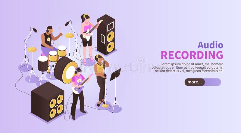 Audio Recording Horizontal Banner royalty free illustration