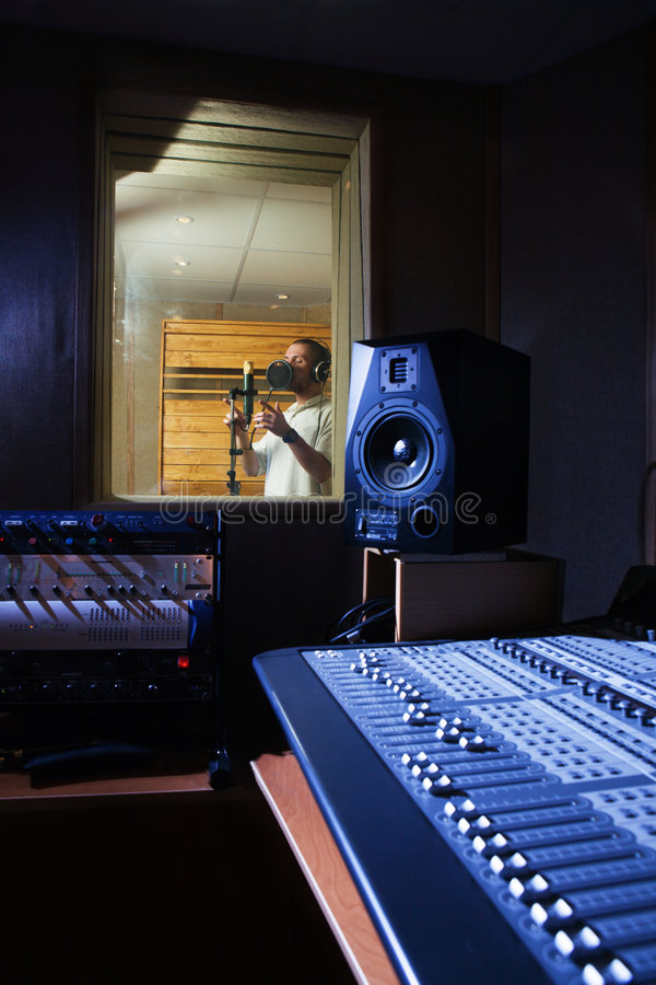 Audio recording studio stock photo