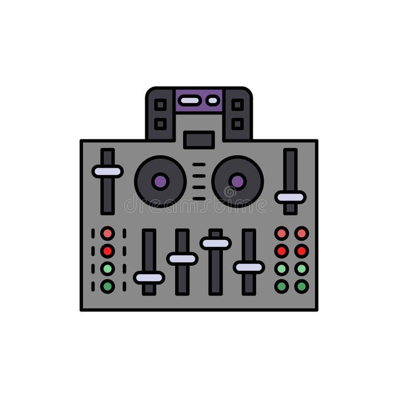 Audio, regolatore, icona del DJ Elemento dell'icona dell'attrezzatura dello studio di musica di colore Icona premio di progettazi illustrazione vettoriale