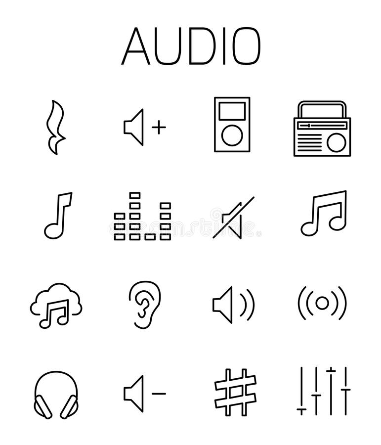 Audio related vector icon set royalty free illustration