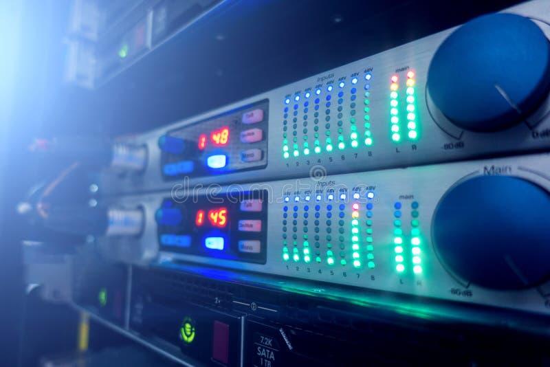 Audio server. Server room in data center. Full of telecommunication equipment stock photography