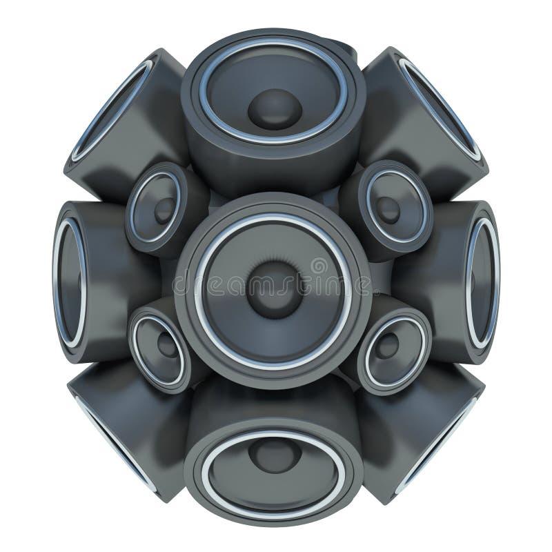 audio sfera degli altoparlanti 3D isolata su fondo bianco illustrazione di stock