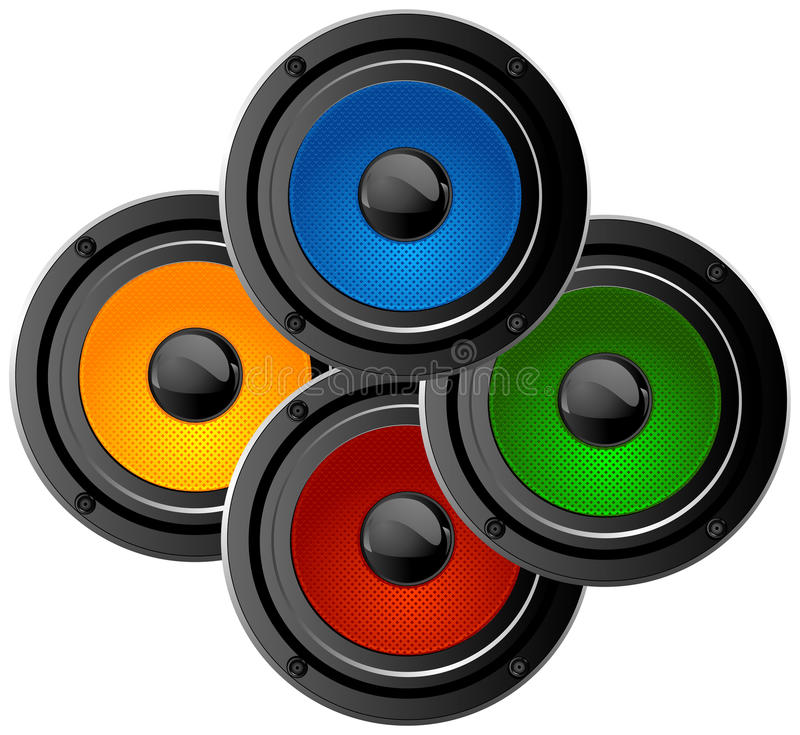 Audio sistema ad alta potenza nero illustrazione vettoriale