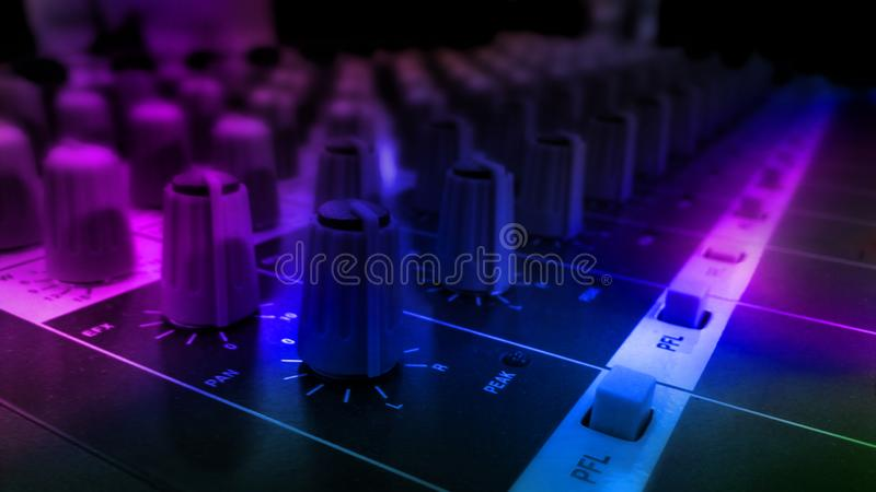 Audio sound equalizer equipment in concert night club party festival. stock images