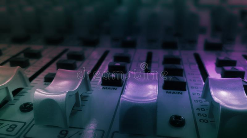 Audio sound equalizer equipment in concert night club party festival. royalty free stock photography