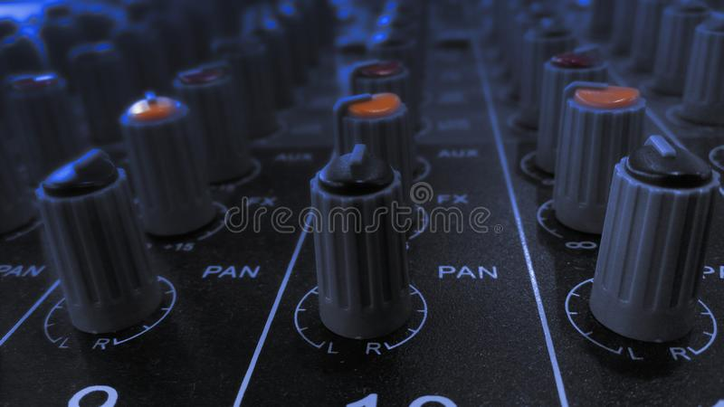 Audio sound equalizer equipment in concert night club party festival. royalty free stock photo