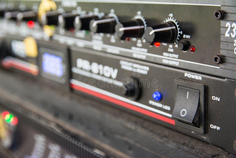 Audio sound mixer. Selective focus royalty free stock image