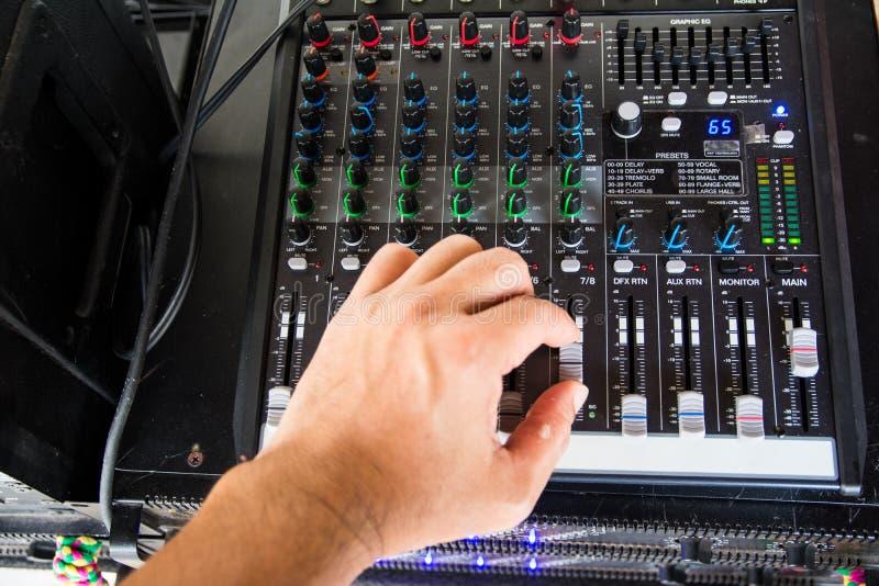 Audio sound mixer. Selective focus royalty free stock photo