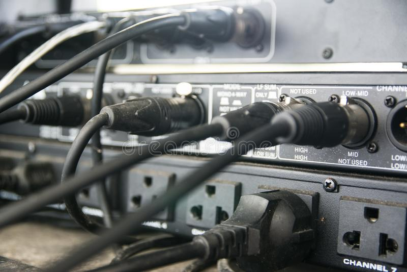 Audio sound mixer. Selective focus stock photos