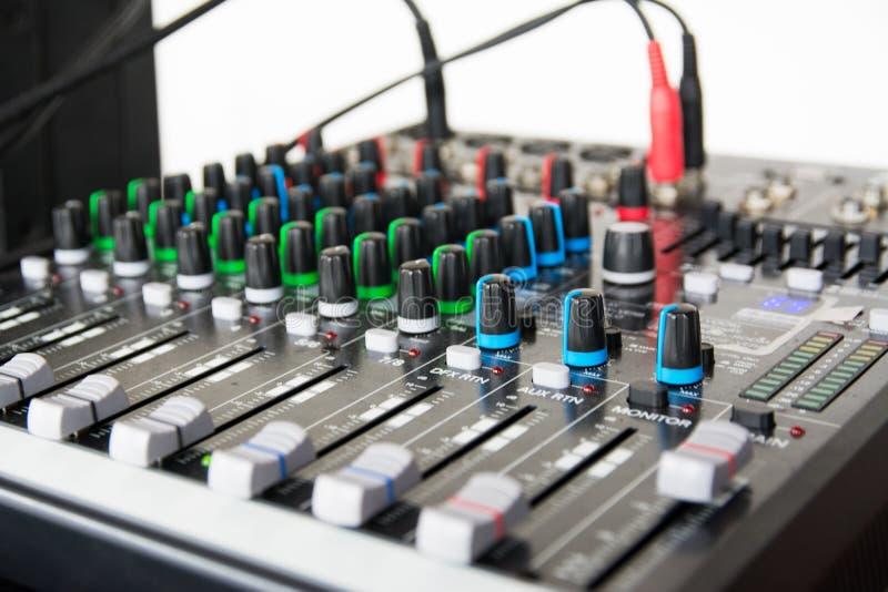 Audio sound mixer. Selective focus stock image