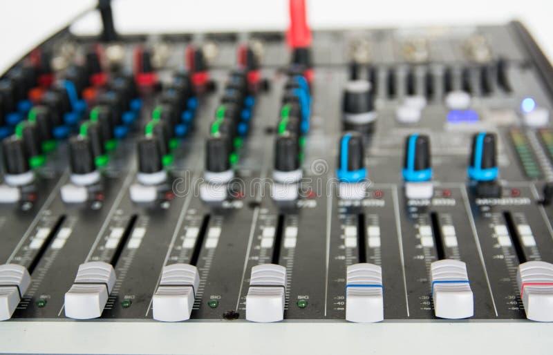 Audio sound mixer. Selective focus stock images