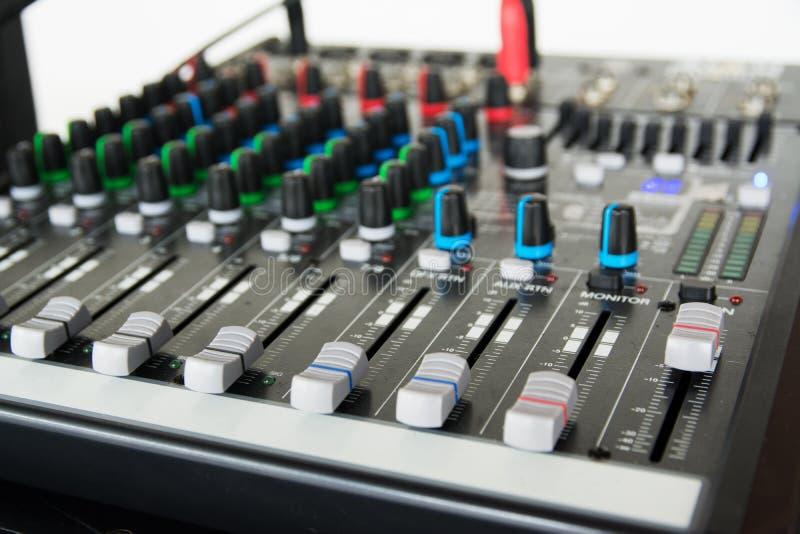 Audio sound mixer. Selective focus stock photography