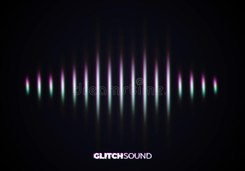 Audio or sound wave with music volume peaks and color glitch effect. On blurred line vibrating waveform vector illustration