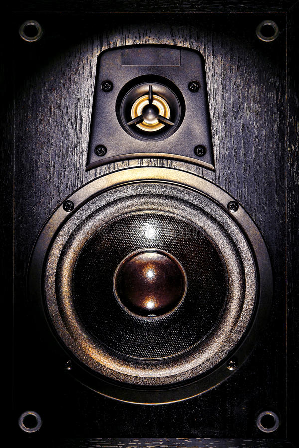 Audio Speaker Enclosure Bass and Tweeter Drivers royalty free stock photo