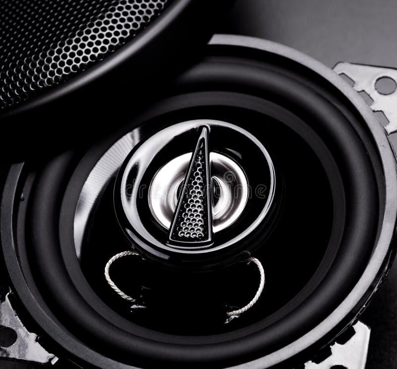 Audio speakers. Black audio speaker for car stock image