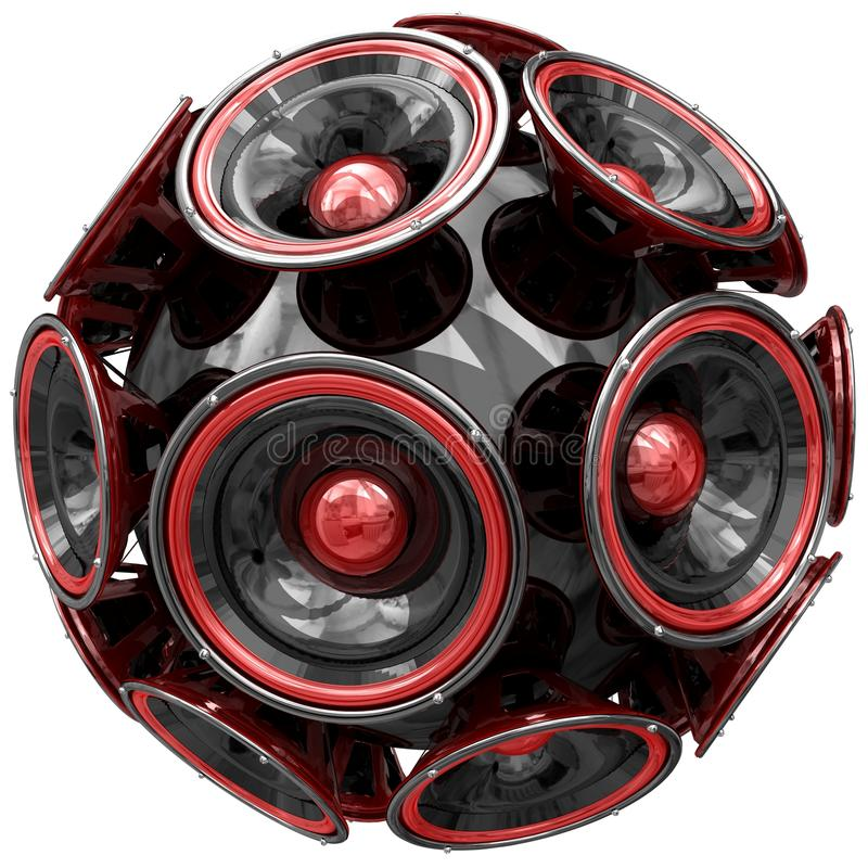 Audio speakers sphere isolated on white. 3D audio speakers sphere isolated on white background royalty free stock image