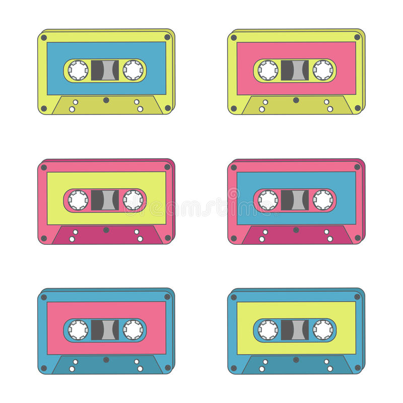 Audio tapes of different colours. Technology 70s. Vector illustration vector illustration