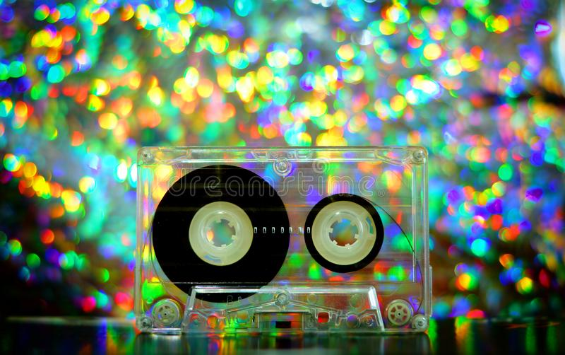 Audio tapes for tape recorder. 70s 80s 90s bokeh vintage fashion old retro wallpaper background texture closeup nostalgia music sound style trend party dance stock photo