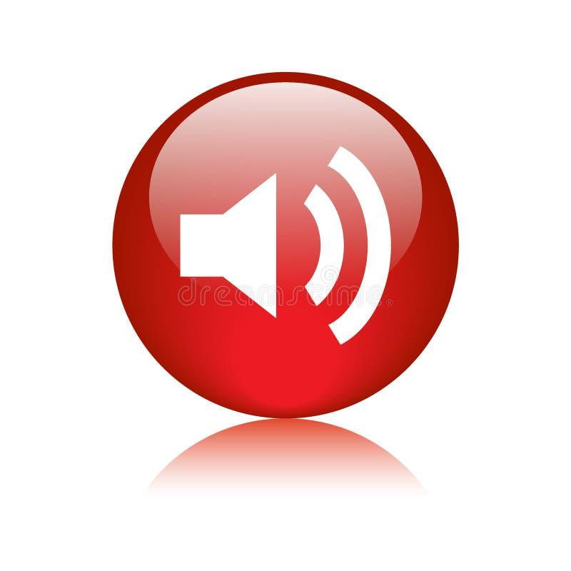 Audio, tomowa ikona guzika czerwień/ royalty ilustracja