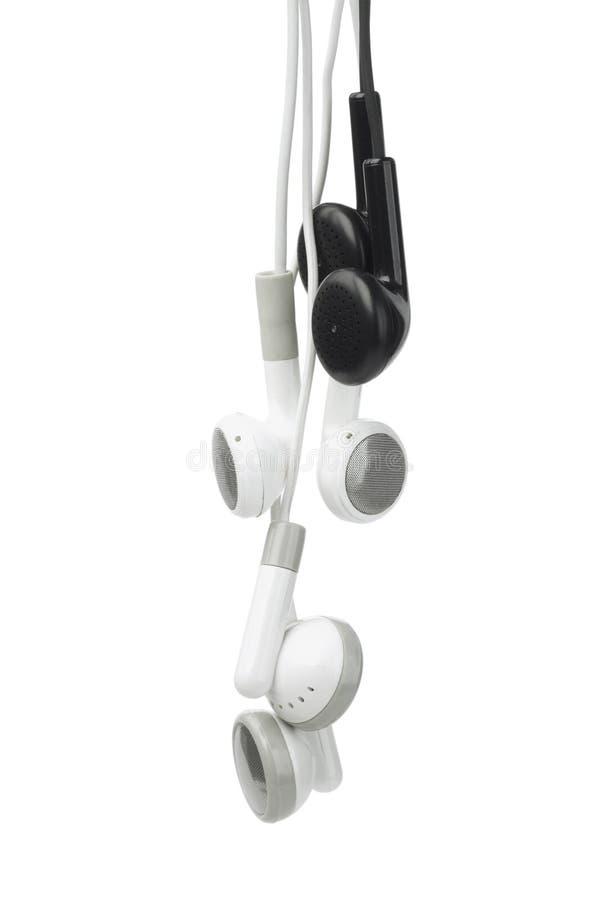 Audio trasduttori auricolari in bianco e nero fotografie stock