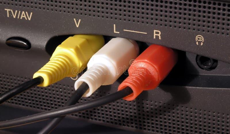 Audio- und videoKabelverbindung stockbild