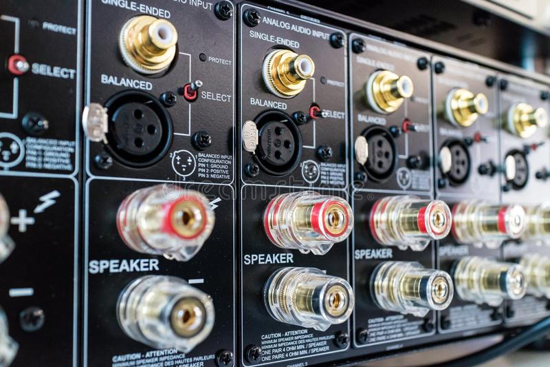 Audio Video AV Connectors Panel stock images